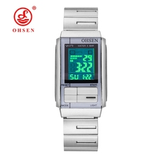 Original Fashion OHSEN Women Watches Digital Watch Female Full Steel Band Lady Watch LED 50m Swim Electronic Wrist Watch Relogio