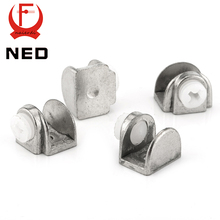 4PCS NED Half Round Glass Clamps Zinc Alloy Shelves Support Nickel Finish Corner Bracket Clips For 8mm Thick Furniture Hardware(China)