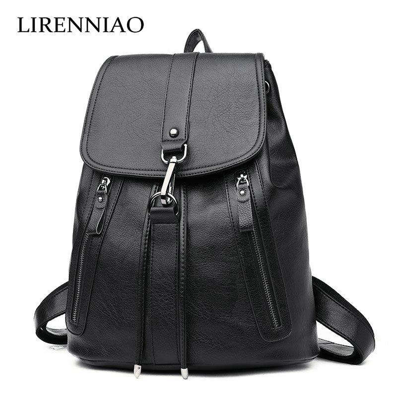 LIRENNIAO Women Backpack High Quality Leather Mochila Escolar School Bags For Teenagers Girls Top-handle Backpacks Fashion<br>