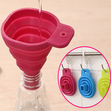 FoodyMine High Quality 1pc New Mini Silicone Gel Foldable Collapsible Style Funnel Hopper Kitchen cooking tools(China)