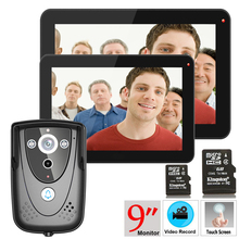 "9"" 2 Monitors DVR Color Touch Screen Video Door Phone with PIR Record intercom System with IR camera 8G SD card(China)"