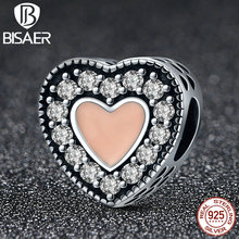 BISAER Trendy 925 Sterling Silver Romantic Heart Charms Orange Enamel Beads Fit Original Pandora Charm Bracelets Jewelry HSC151