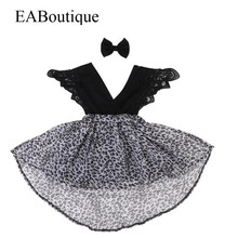 EABoutique 2017 New Summer Style Fashion Lace ruffle sleeve with leopard chiffon girls dress sister dress