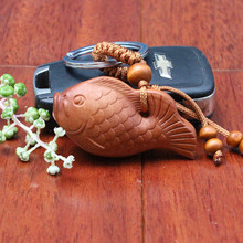 1pc Top Quality New Fashion Wholesale Key Chain Wooden Keychain Cute 3D carved Fish Keyrings Classic wood car keychain llaveros(China)