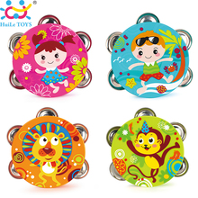1PC HUILE TOYS 3102B Baby Musical Drum Tambourine Early Learning Educational Toys Hand Held Tambourine Drum Bell Rattle Toy(China)