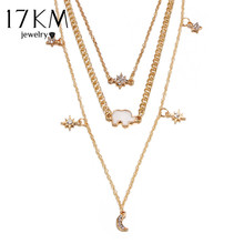 17KM New Vintage Multilayer Star Moon Rhinestone Necklace For Woman Alloy Ox Horn Elephant Geometry Necklaces Fashion Jewelry(China)