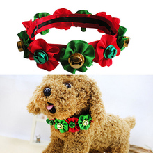 1PCS Handmade Christmas Dog Grooming Accessories Festival Bell Collars Ribbon Pet Boutique Wholesale