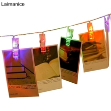 Laimanice 2M 20 led card photo clip string lights new year party wedding home decoration battery lights White/Warm White/Color(China)