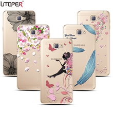 Mandala Pattern Soft Plastic Case For Samsung Galaxy J5 Prime Case On5 2016 Butterfly Girl Silicon Coque Transparent TPU Cover