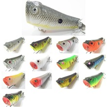wLure 5.1cm 7.8g Small Size Popper with Red Mouth Twitch Lure #8 Hooks Assort Colors Topwater Surface Fishing Lure T620(China)