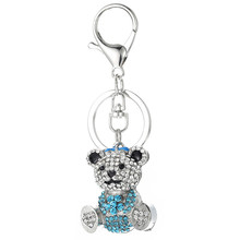 Hot Bear Keychains Crystal Key Ring Key Chains for Christmas Gift Jewelry Llaveros Pendant G48