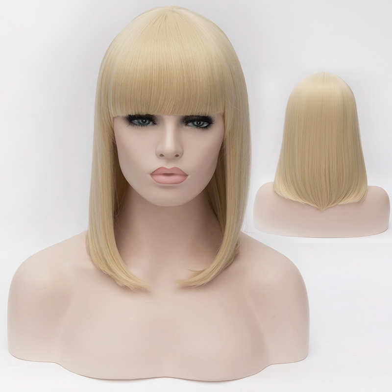 Beautiful Womens Short Straight Hair Wig Natural Blonde Cosplay Wig Costume Party Hair Neat Bangs Bob Wigs Free Shipping<br><br>Aliexpress