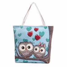 Fashion Cute Women Hand Bag Owl Printed Canvas Tote Casual Beach Bags Women Shopping Bag Handbags 2017 Cool  Leather Bag Lady
