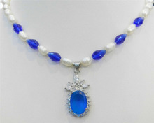 "USA Nobility Quartz crystal natural 17.5"" White Pearl & Blue Crystal Gem Necklace Egg-shaped Cut Pendant   Plated"