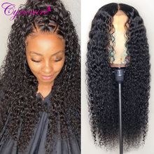 Cynosure Wigs Human-Hair Curly Lace-Front Pre-Plucked Remy Kinky Black Women Brazilian