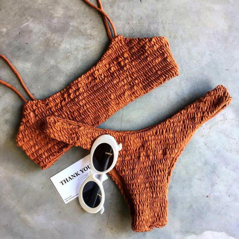 Sexy Green Bandeau Swimwear Women Triangle Bikini Halter Bandage Thong Bikinis Bathing Suit Beach Suit with Pad Set (9)