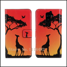 Sunset & Giraffe Wallet Stand Leather Case Cover For LG G2 Cell Phone + free shipping