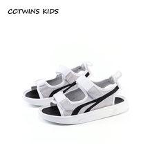 CCTWINS KIDS 2018 verano niños moda playa sandalia marca cuero genuino niña  negro Casual zapato suave ef0fc959d662