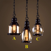 Loft Pendant Light Industrial Style Glass Pendant Lamps Bar/Restaurant Light Retro Lamparas Colgantes Black and Amer Luminaire
