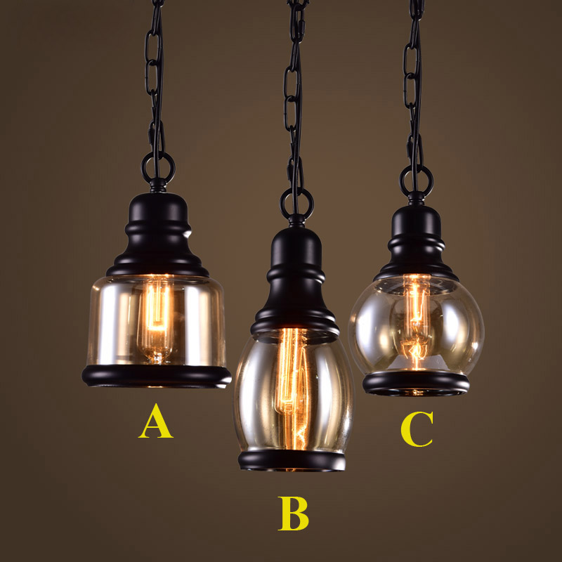 Loft Pendant Light Industrial Style Glass Pendant Lamps Bar/Restaurant Light Retro Lamparas Colgantes Black and Amer Luminaire<br>