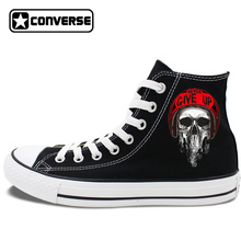 Rock Style Skull NEVER GIVE UP Original Design Skateboarding Shoes Man Woman's Converse All Star High Top Black Canvas Sneakers