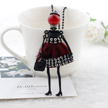 free shippings! Cute Assorted Colors Yarn Crystal Meshes Doll Necklace Women Jewelry Female Accessories Bijoux(China)