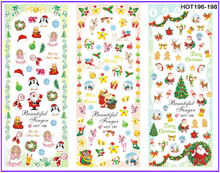3 PACKS / LOT MOSAIC XMAS CHRISTMAS SANTA CLAUSE DEER NAIL TATTOOS STICKER WATER TRANSFER DECAL NAIL ART HOT196-198