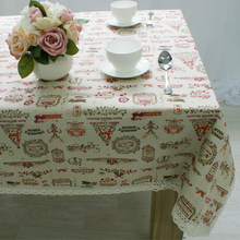 Hot European Style Merry Christmas Cartoon Printed Cotton Linen Rectangle Tablecloths Tea Table Cloth Cover Kitchen Party Decor