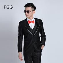 Mens Fashion Brand Cocktail Tuxedos For Men Shiny Black Groom Bestman Wedding Suits Jacket Pants Gentleman Suit Trajes De Novio(China)