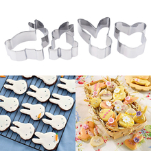 A Set Stainless Steel Easter Series Rabbit Shape Chocolate Soap Mold Cookie Cutters Cake Stencils 4pcs Baking Tools(China)