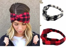 Classic Black Plaid  Buffalo Check cotton Turban Twist plaid Headbands hair band