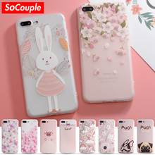 SoCouple Colorful Flower Rabbit Case For iphone 7 Case Cute Cartoon Animal Back Cover Phone Cases For iphone 6 6S 6/7/8 PLus 8 X(China)