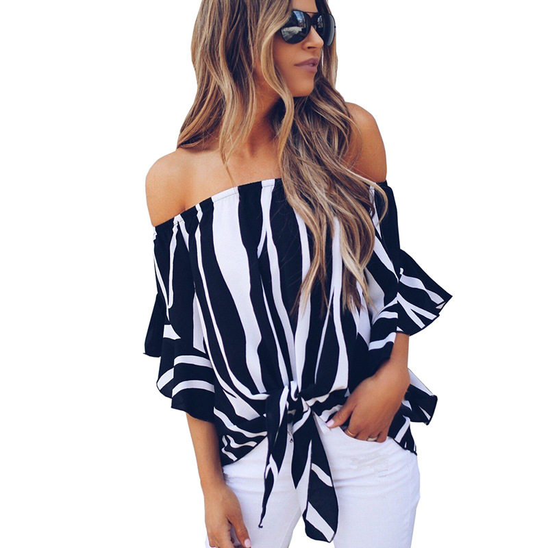 LOSSKY Women's Striped Chiffon Shirts Blouse Sexy Off Shoulders Bandage Women Casual Blusas Shirt 2018 Summer Loose Elegant Tops 11
