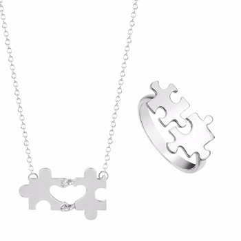 Kinitial 2pcs Fashion Heart Engagement Jewelry Bridal Jewelry Sets For Women Puzzle Pendant Necklace/Ring Wedding Jewelry Set