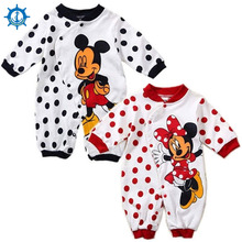 Best Hot Cotton babycare baby rompers Wave point pattern Cartoon boys girls clothing 4 Styles Long sleeves newborn Rompers HB040