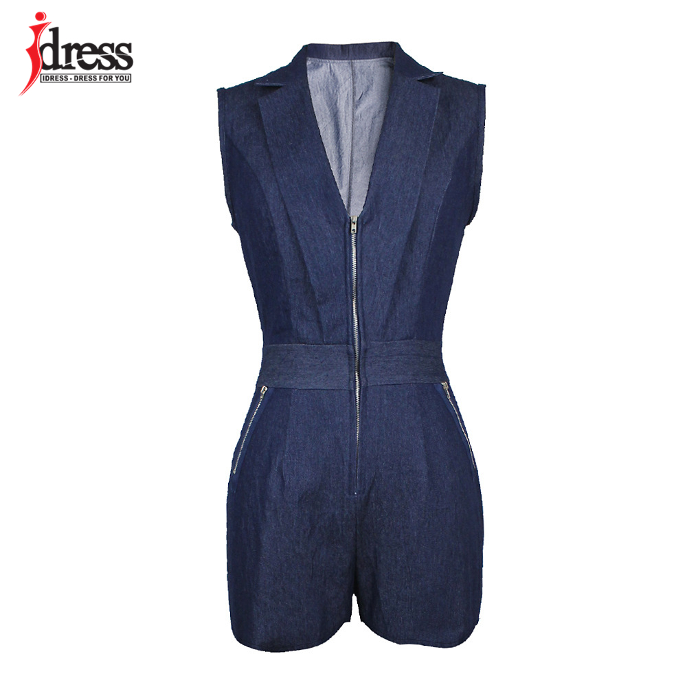 IDress Summer Deep V Neck Zippers Women Denim Playsuit Sleeveless Pockets Short Pant Ladies Bodycon Jumpsuit Party Romper Overall (8)