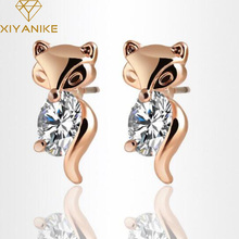 Buy Fashion Jewelry Crystal Earrings Bijoux Stud Earring Gold Silver Plated Charm Fox Earrings Women Gifts Wholesale XY-E1028 for $1.15 in AliExpress store