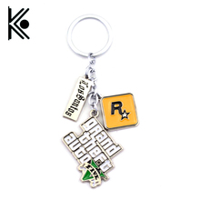 PS4 GTA 5 Game Keychain Grand Theft Auto 5 Keychains For Men Fans Xbox PC Rockstar Keychain Holder Key Ring Jewelry Llaveros