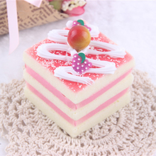 1PCS New Cute Artificial Cake Simulation Fake Food Cream Small Triangular Cake For Kids Kitchen Toys Figurines Miniatures(China)