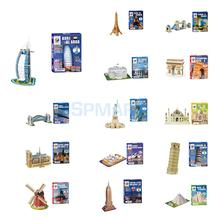 3D Puzzle Jigsaw Great Architecture Model DIY Educational Toy Mini Building Construction Burj Al Arab Eiffel Tower Leaning Tower