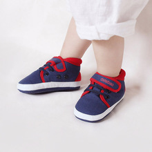 Delebao Navy Blue Cotton Shallow Red Ham Patchwork Shoes First Walkers Fashion Hook & Loop Rubber Sole Baby Casual Shoes