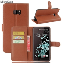 MicroData Luxury PU Leather Flip Case For HTC U Ultra Wallet Stand Leather Case Cover On HTC Ocean Note(China)
