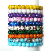 New Fashion High Quality 8mm Glass Chic Assorted Colorful Beads Charm Bracelet with Mix Color-Pick 19cm for Women Men Gifts(China)