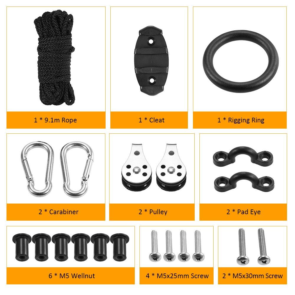 21PCS Rope Pulleys Kayak Cleat Pad Eyes W// Nuts Screws Kit High Quality Durable