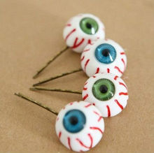 12pairs/lot Wholesale Bloodshot Eyeball Bobby Pins Green Blue Eye Hair Clips Harajuku Jewellery HJ105(China)