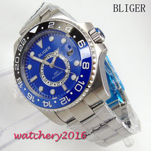 43mm Bliger blue dial ceramic Bezel Calendar Luminous Marks Mens gmt Sapphire Crystal Automatic movement Mechanical Wristwatches(China)