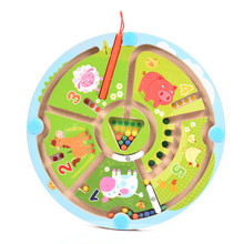 28x17CM Wooden Magnetic Railway Game Magnetic Labyrinth Farm Magnetic Maze Intelligence Games Children Learning Education Toys(China)