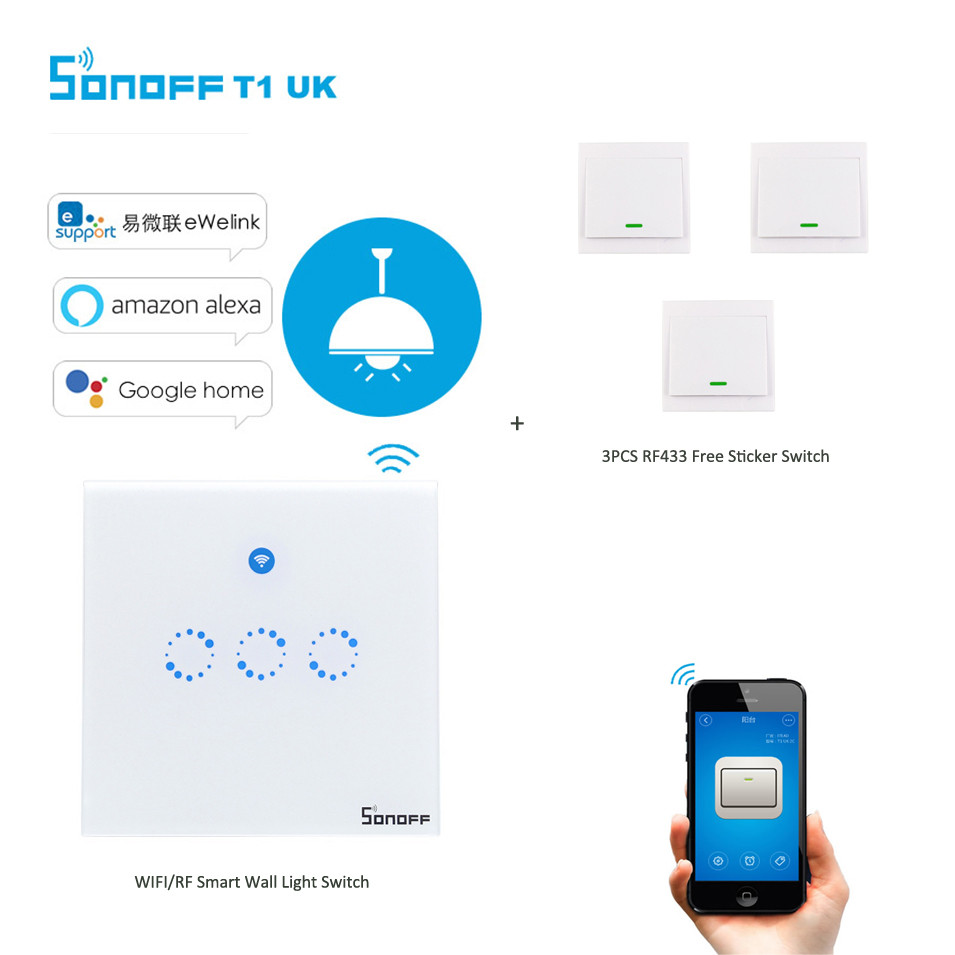 Sonoff T1 3Gang 2way WiFi Wireless RF/APP/Touch Control Wall Light Timing Switch UK Type Smart Home Automation for Alexa/Nest<br>