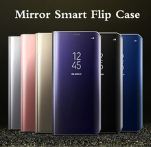 Ultra Thin Mirror Flip Phone Cover For Samsung Galaxy S8 Plus Case Clear View Smart Cover For Galaxy S6 S7 edge A3 A5 A7 Note5