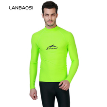LANBAOSI Long Sleeve Rashguard Swim Shirts Mens New Summer Surf Waterski Anti-UV Wear Men UPF50+ Rashguard Lycra Surfing Wetsuit